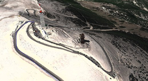 De top van de Ventoux in Google Earth